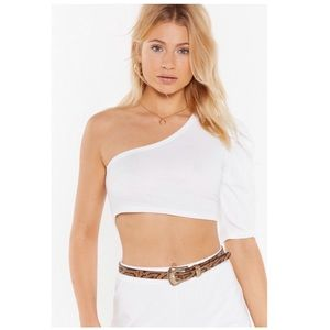 Nasty Gal Ivory One Shoulder Crop Top Size 6, NWT